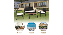 Rattan Folding Chair with Square Table