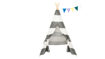 Gray and White Stripes Children Teepee Tent