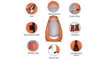 Portable Pop Up Toilet Shower Tent in Orange