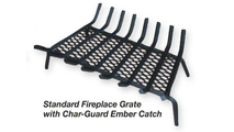 """Fireplace Grate Shows Char-Guard Ember Catch Option - 24"""" grate show"""