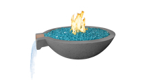 Salerno 27 Inch Round Concrete Fire and Water Bowl in Gray with Optional Fire Glass