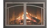 Normandy Deluxe Masonry Fireplace Door Natural Iron main frame with Grey Iron door frame