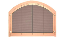 Revelation Arched custom fireplace door in polished copper finish with full fold bi-fold center view doors