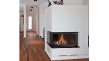 Cascade Corner Masonry Fireplace Door Installed