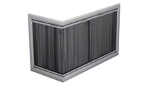 Cumberland Masonry Corner Fireplace Door in Anodized Brite Nickel - 4 Sided NO Draft Assembly