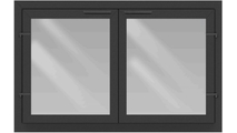 Normandy Eco Tite Masonry Fireplace Door with cabinet center bar doors, tempered glass, and shown in Textured Black powder coat finish