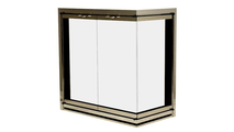 Yukon Masonry Frameless Corner Fireplace Door in anodized Brushed Brass - 3 Sided With Draft Assembly