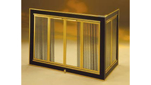 Genesis Corner Fireplace Door in Velvet Black finish with Satin Brass trim