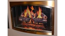 Side View Of Bay Window Fireplace Door