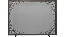 Scroll Decorative Fireplace Screen in Silver Mist powder coat finish