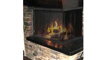 Custom recessed fireplace screen