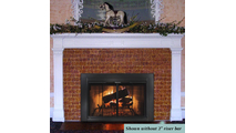 Ardmore is an affordable overlap fit fireplace glass door.  - Shown riser bar NOT installed