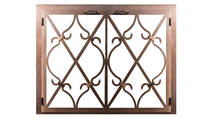 Banded Scroll Masonry Fireplace Door in Rustic Copper