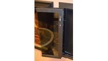 Blacksmith Glass Fireplace Door Full-Fold Door Open in Rustic Black