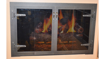 Blacksmith Fireplace Door With Strap Hinges in Rustic Black