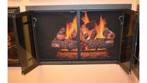 Blacksmith Glass Fireplace Door Open in Rustic Black