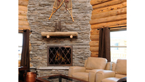 Banded Scroll Fireplace Door In Room Setting