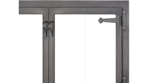 Hammered Edge Fireplace Glass Door Forged Iron Top Right Corner