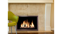 Slim Moderne Masonry Fireplace Door in Autumn Glow