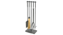 Soldiered Row Fireplace Tool Set In Vintage Steel