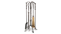 Twisted Rope Fireplace Tool Set In Vintage Steel