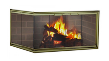 Silhouette Masonry Corner Fireplace Door in Vintage Brass