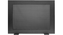 Saratoga modern fireplace screen shown in Textured Black with mesh screen