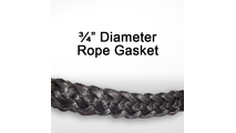 "3/4"" black graphite impregnated rope gasket for wood stoves."