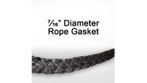 "7/16"" black graphite impregnated rope gasket for wood stoves."