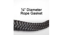 "7/8"" black graphite impregnated rope gasket for wood stoves."