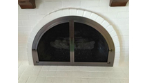 Full Arch Fireplace Door in Brushed Chrome