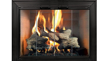 The Decor Masonry Fireplace Door in textured black powder coat finish