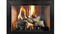 The Decor Masonry Fireplace Door in textured black powder coat finish