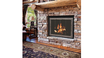 Laramie Fireplace Door in Charcoal Finish with Square Handles on Clearview Cabinet Doors with Clear Tempered Glass