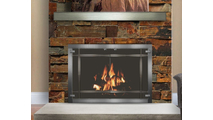 Living space setting with Appalachian Masonry Fireplace Door With Etched Glass in Brushed Chrome