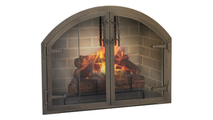 Blacksmith Arched Masonry Fireplace Door in Classic Bronze