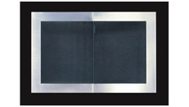 Portland Willamette Broadway Reveal Fireplace Door for masonry fireplaces, shown in Satin Black and Brushed Nickel