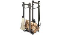 Forged Steel Log Holder With Tool Set In Vintage Iron Finish