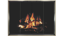 4 sided overlap fit Kohrs ZC Fireplace Door without draft shown in Brite Nickel with Textured Black door finish