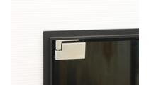 Vanguard Fireplace Door - closeup on European hinges in antique steel