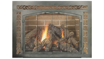 Cascadian Arch Conversion Masonry Fireplace Door with sidelights & transom - Weathered Brown Finish - shown with upgraded bi-fold doors