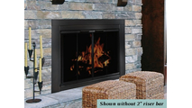 The Ardmore masonry fireplace door comes with trackless bi-fold doors and smoked tempered glass.  - Shown riser bar NOT installed