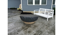 Round Vinyl Fire Pit Cover Black Fits 35 to 53 Inches