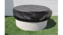 Round vinyl fire pit cover with an elastic band at the bottom for a snug fit
