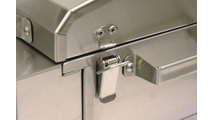Toggle latch keeps the Solaire AllAbout Single Burner Tabletop Grill closed and secure.