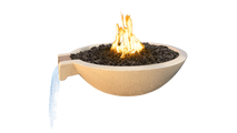 Salerno 21 Inch Round Concrete Fire and Water Bowl in Sand Finish with optional lava rock