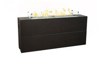Tall Milan Linear Fire Table 72 Inch Shown In Black Lava