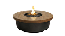 47 Inch Round Contempo Fire Table With French Barrel Oak Top