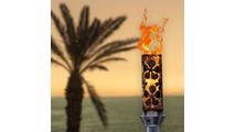 Plumeria tiki torch with vulcan ignition