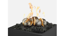 Six Steel Fire Ball Ornaments, lava rock, and fire table are not included